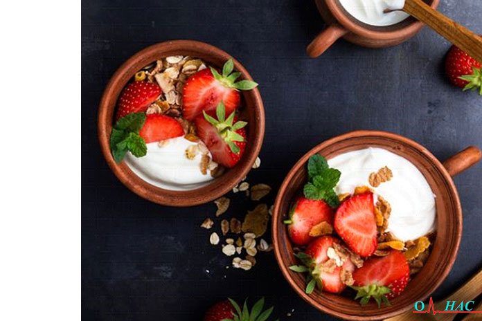 Завтрак мороженое с йогуртом